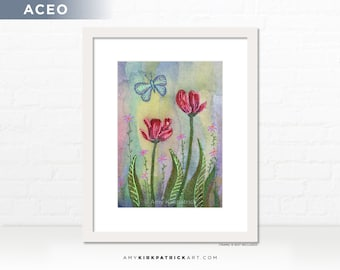 Red Tulips Butterfly Painting, Original ACEO Painting, Miniature Butterfly Art, ATC Original, OOAK, Tulips aceo, Tulips and Butterfly