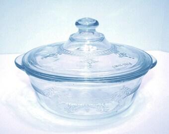 Fire-King Sapphire Blue Casserole Glassware Ovenware Bakeware Knob Lid