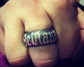 "Mens Hand Made 925 Sterling Silver "" Deviant "" Barrell Ring with Old English Text and Dogstone Jackal Head"