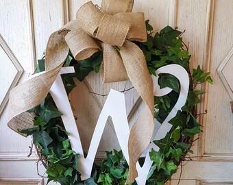 Monogram Front door wreath, Greenery Wreath - Wreath Great for All Year Round - Everyday Burlap Wreath, Door Wreath, Front Door Wreath