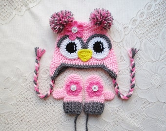 Shades of Pink Crochet Winter Hat and Mitten Set - Photo Prop - Available in Baby to Toddler Size - Any Color Combination
