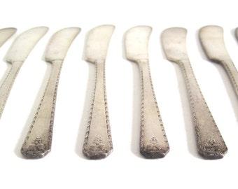 Silverplate Butter Spreaders Individual Flat Butter Knives, Oneida Bordeaux Prestige Plate