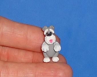Polymer Clay Itty Bitty Begging Schnauzer Dog