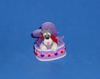 Polymer Clay Schnauzer Dog in Purple Valentine Heart Box