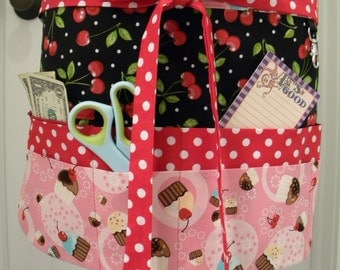 Teacher Aprons-Crafter Vendor Utility Apron-Cupcakes and Cherries