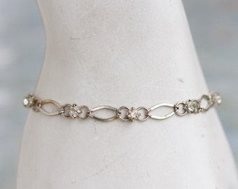 Elegant Bracelet - Silver Toned Chain with Rhinestones