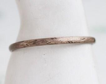 Art Deco Silver Bracelet - Sterling Silver Dainty Bangle - Etched Thin Bracelet