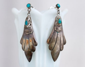 Boho Dangle Earrings with Turquoise Stones - Sterling Silver - Vintage Oxidized Jewelry