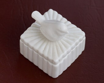 Little Bird Jewelry Box - White Porcelain Trinket Box