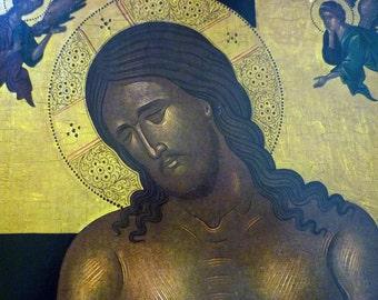 Vintage Italo-Byzantine Icon  Christ in Tomb