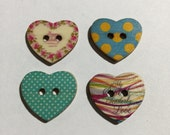 Novelty Wooden Heart Shape Button Set, Embellishments, Sewing, Scrapbooking, Journaling, Arts And Crafts