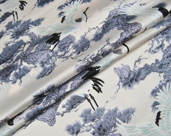 chinese vintage fairy white crane grayblue pinetree offwhite creamy silk fabric 1/2yard for cheongsam clothing