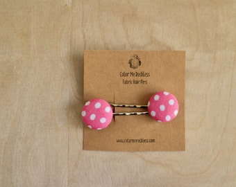 Hair Clips - Pink with Polka Dots