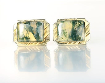 Moss Agate Cufflinks, Green Gemstone Landscape Dendritic Agate Gold tone vintage mens jewelry