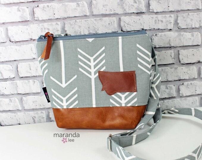 BRI Messenger Bag  - Grey Arrow with Montana Patch  PU Leather