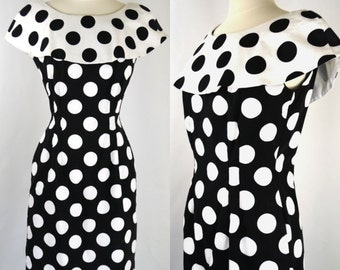 1980s Black and White Polka Dot Wiggle Dress by First Focus