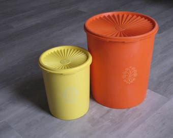Vintage Orange and Yellow Tupperware Canisters - Set of Two