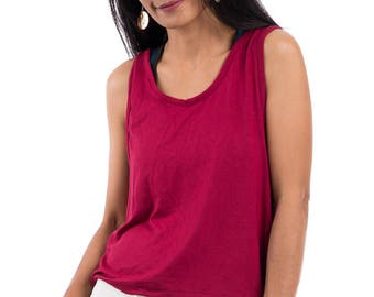 Sleeveless top, red top, summer top, open back top, low cut back top, halter top : Urban Chic Collection