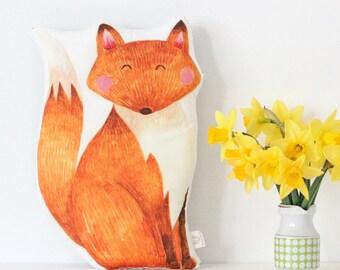 Fox Cushion Illustrated Fox Cushion Fox Pillow