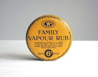 vintage cooperative yellow family vapour rub tin