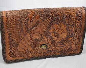 Vintage Leather tooled handbag, 1940s amazing detail