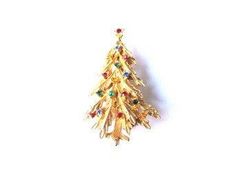 Brooch Rhinestone Gold Plate Tall Christmas Tree