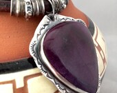 Handmade, One of a Kind, Southwestern, Boho, Purple Sugilite, Sterling Silver, Pendant