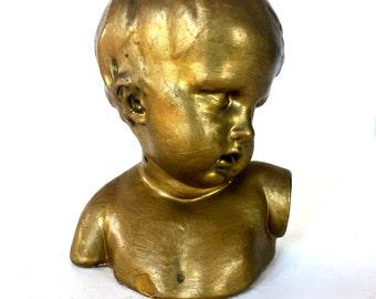 Antique Boy Bust  figurine / Fragment / paper weight /