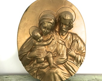 Vintage religious bust of the Holly Family / wall plaque