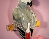 Stained Glass Suncatcher African Gray Parrot  (776)