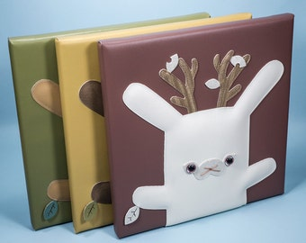 Chinchilla, Bunny, Jackalope wall art, stuffed animal, baby shower gift, nursery kids room decor, white rabbit, Flat Bonnie
