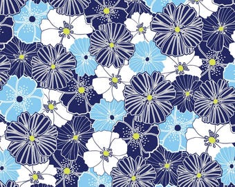 Citron Twist - Blue Packed Poppies from Benartex