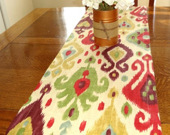 Richloom Django Jubile Ikat Design Pink Gold Purple Green Blue Table Runner Dining Room Decor 12x72