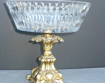 Vintage Gold Ornate Pedestal Glass Bowl Vase