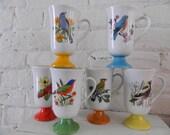 Vintage Mid Century Pedestal Bird Coffee Mugs - Japan