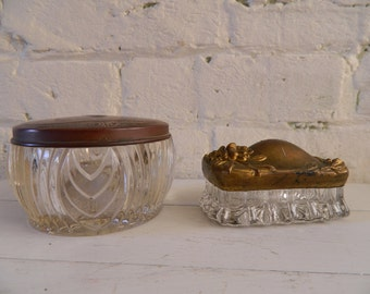 Vintage Glass Vanity Dishes - Trinket Dishes