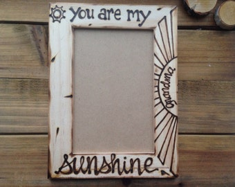Gift Wood picture frame You are my Sunshine Parent Child Sonogram Expecting Boyfriend Girlfriend Autism Awareness Friendship Grandparents