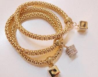 bling bling 3x bracelet gold color, crystal