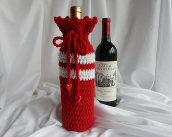 Wine Bottle Cover Crochet Cozy - Red and White with Red Heart Charms - Valentine's Day