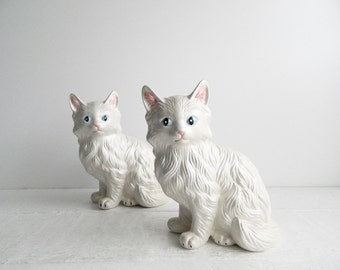 Vintage Ceramic Persian Cat Figurines - Pair of 2 - White Kittens