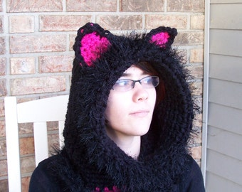 Black Cat Hooded Cowl with Fuzzy Trim