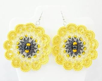 Boho earrings Yellow grey Flower jewelry handmade crochet earrings Textured beaded Bold chunky handcrafted Summer festival fashion