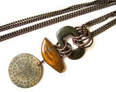 Losing the Light - primitive industrial assemblage yellow plume agate cabochon, vintage buckle & coin, long copper bezel metalwork necklace