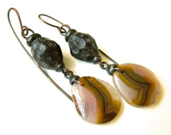 Don't You Know You're Life Itself - primitive earthy caramel white agua nueva agate stone, faceted wood bead, tinned black metal earrings