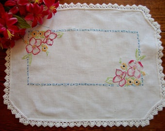 Linen Embroidered Doily Pink Floral Embroidery Crochet Trim Tray Liner Vintage Table Linens