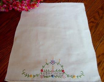 Embroidered Tea Towel Vintage Linen Kitchen Towel Guest Towel