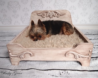Wood Dog Bed, Pet Bed, Raised Dog Bed, Extra Small Dog Bed, Wood Cat Bed, Pet Furniture
