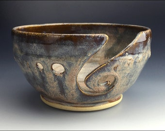 knitting YARN BOWL | mottled grays with pink, blue, and charcoal hues