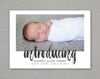 birth announcement // black and white // hipster // modern // brush lettering // baby // gender neutral // boy // girl