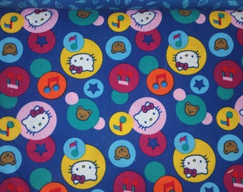 Hello kitty licensed by Sanrio blue backgroundwith, stars, bears, hello kitty, music notes in circles rare oop